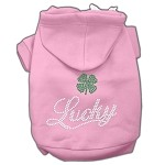 Lucky Rhinestone Hoodies Light Pink XS (8)